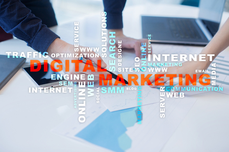 DIgital marketing technology concept.. Internet. Online. Search Engine Optimisation. SEO. SMM. Advertising. Words cloud. Stock Photo