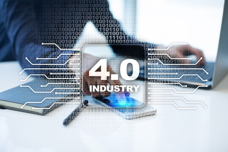 Industry 4.0. IOT. Internet of things. Smart manufacturing concept. Industrial 4.0 process infrastructure. background. Banco de Imagens