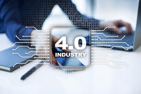 Industria 4.0. IOT Internet de las Cosas. Concepto de fabricación inteligente. Infraestructura de procesos industriales 4.0. fondo.