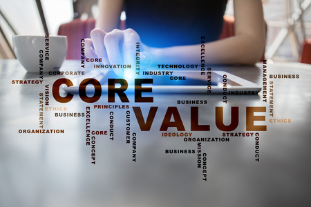 principles: Core value. Business concept. Words cloud. Stock Photo
