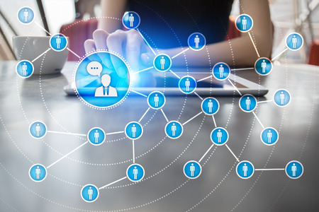 Peoples icon network. SMM. Social media marketing. Stock Photo