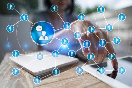 Réseau d'icônes des peuples. SMM. Marketing des médias sociaux.