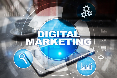 DIgital marketing technology concept.. Internet. Online. Search Engine Optimisation. SEO. SMM. Advertising. Stock Photo