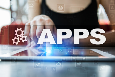 smartphone business: Apps development concept. Business and internet technology.