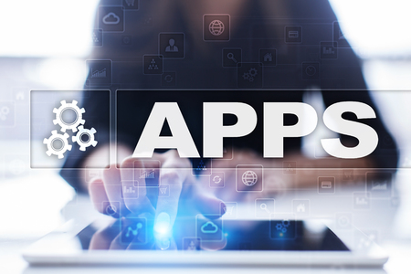 smartphone apps: Apps development concept. Business and internet technology.