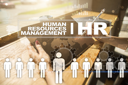 employment agency: Human resource management, HR, recruitment, leadership and teambuilding. Business and technology concept. Stock Photo