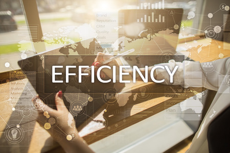 progressing: Efficiency Growth concept. Business and technology. Virtual screen. Stock Photo