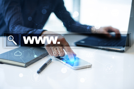 Search bar with www text. Web site, URL. Digital marketing. Business, internet and technology concept. Stock Photo