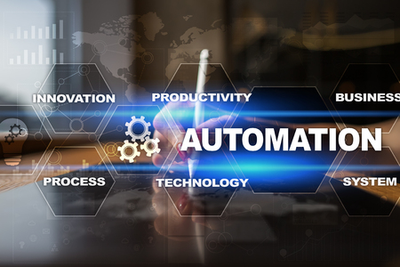 productive: Automation concept as an innovation, improving productivity, reliability and repeatability in technology and business processes.