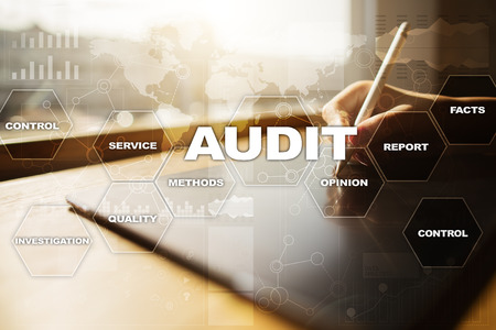 assessment system: Audit business concept. Auditor. Compliance. Virtual screen technology. Stock Photo