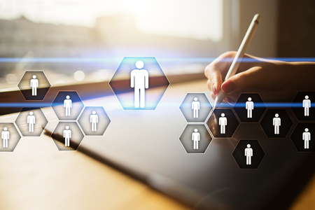 인적 자원 관리, HR, 채용, 리더십 및 팀 빌딩. 비즈니스 및 기술 개념입니다. 스톡 콘텐츠