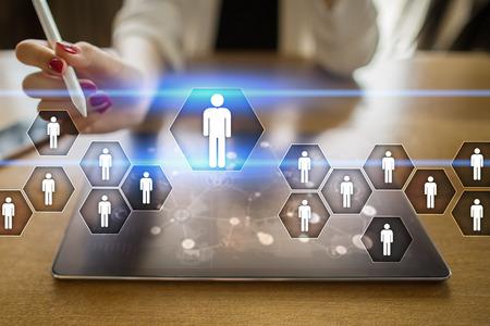Personalmanagement, HR, Rekrutierung, Führung und Teambuilding. Geschäfts- und Technologiekonzept.
