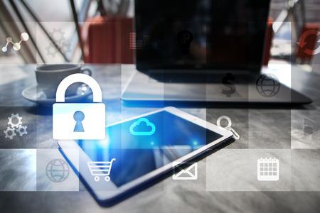 데이터 보호 및 사이버 보안 개념입니다. 스톡 콘텐츠