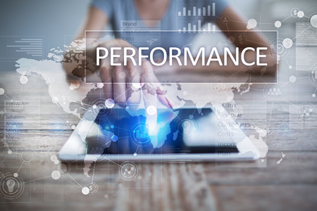 review: Performance indicator on virtual screen. KPI. Business growth strategy.
