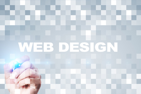 website words: Web design and development concept. Stock Photo