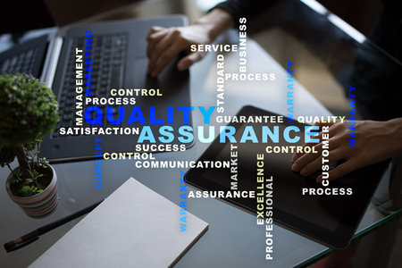 Quality assurance concept on the virtual screen business concept quality assurance concept on the virtual screen business concept words cloud stock photo reheart Images