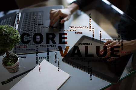 core strategy: Core value on the virtual screen. Business concept. Words cloud.
