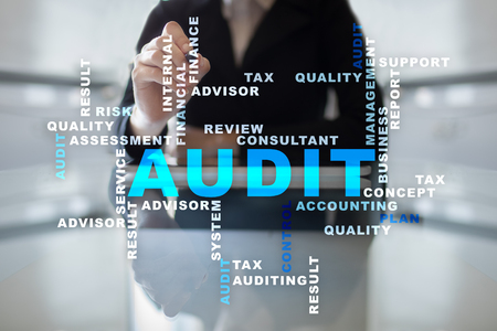 Audit business concept. Auditor. Compliance. Virtual screen technology. Words cloud. Stock Photo