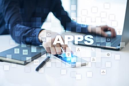 Apps ontwikkeling concept. Bedrijfs- en internettechnologie. Stockfoto