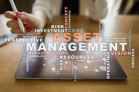 digital asset management: Asset management on the virtual screen. Business concept. Words cloud.