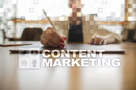 Content marketing concept on the virtual screen.