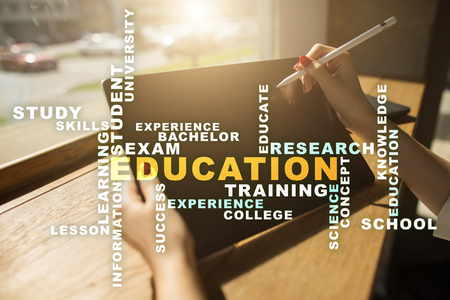 scholarship: Education words cloud on the virtual screen.