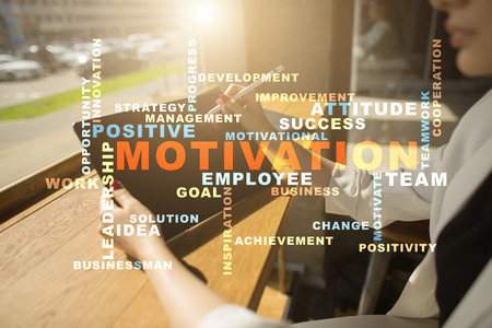Motivation concept on the virtual screen. Words cloud. Stock Photo