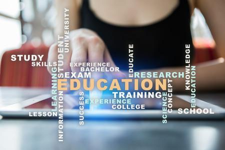 scholarship: Education words cloud on virtual screen.