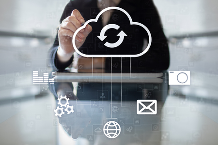 touch screen interface: Cloud technology. Data storage. Networking and internet service concept.