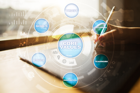 core strategy: Core values business and technology concept on the virtual screen.