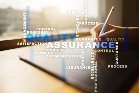 Quality assurance concept on the virtual screen. Business concept. Words cloud. Stock Photo