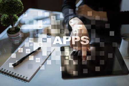 wireless: Apps development concept. Business and internet technology.