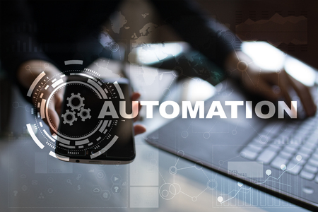 automate: Automation concept as an innovation, improving productivity, reliability and repeatability in technology and business processes.