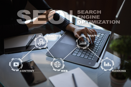 SEO. Search Engine optimization. Digital online marketing and Internet technology concept.