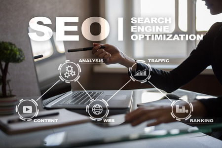 screen: SEO. Search Engine optimization. Digital online marketing andInetrmet technology concept.?