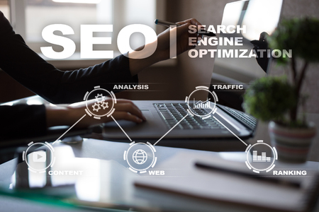 SEO. Search Engine optimization. Digital online marketing andInetrmet technology concept.?