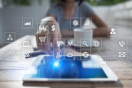 Virtual screen interface with applications icons. APPS. Work Business process in modern office. Strategy planning  Internet technology concept. Stock Photo - 83833762