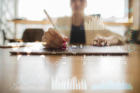 Concetto di business sfondo. schermo virtuale con spazio vuoto per il testo. internet e tecnologia. Archivio Fotografico - 83834429