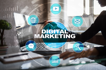 DIgital marketing technology concept. Internet. Online. Search Engine Optimisation. SEO. SMM. Advertising. Stock Photo - 83949120