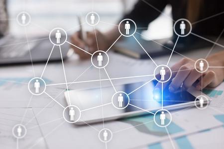 Gestión de recursos humanos, RR.HH., reclutamiento, liderazgo y creación de equipo. Concepto de negocio y tecnología. Foto de archivo - 85286140