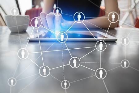 Gestión de recursos humanos, RR.HH., reclutamiento, liderazgo y creación de equipo. Concepto de negocio y tecnología. Foto de archivo - 85279049