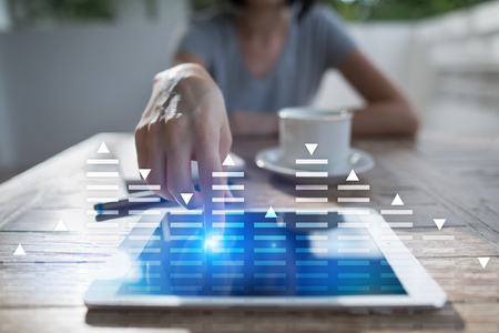 Stock trading, data analysis diagram, chart, graph on virtual screen. Business and technology concept. Stock Photo