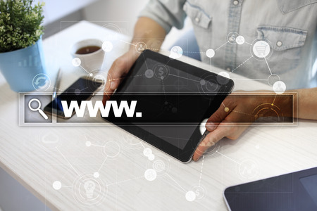 marketing online: Search bar with www text. Web site, URL. Digital marketing. Business, internet and technology concept. Stock Photo