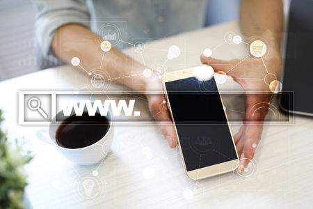 web browser: Search bar with www text. Web site, URL. Digital marketing. Business, internet and technology concept. Stock Photo