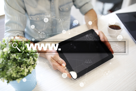 questions: Search bar with www text. Web site, URL. Digital marketing. Business, internet and technology concept. Stock Photo