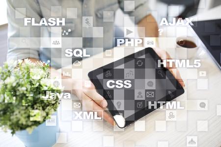 mobile communication: Web development. Programming. Internet and technology concept.
