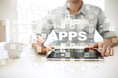 smartphone: Apps development concept. Business and internet technology concept.