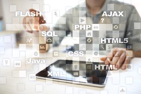smartphone: Web development. Programming. Internet and technology concept.