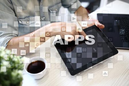 mobile communication: Apps development concept. Business and internet technology concept.