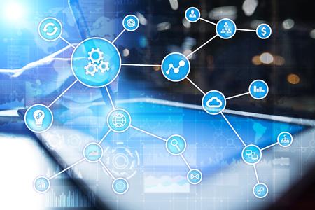 Automatiseringsconcept als een innovatie, die de productiviteit, betrouwbaarheid en herhaalbaarheid van technologie en bedrijfsprocessen verbetert.